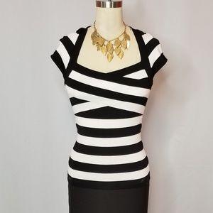 White | Black Striped Bandage Top
